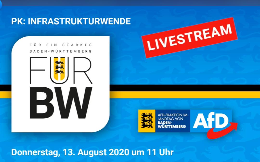 Pressekonferenz der AfD-Fraktion im Landtag von Baden-Württemberg zum Thema Infrastrukturwende