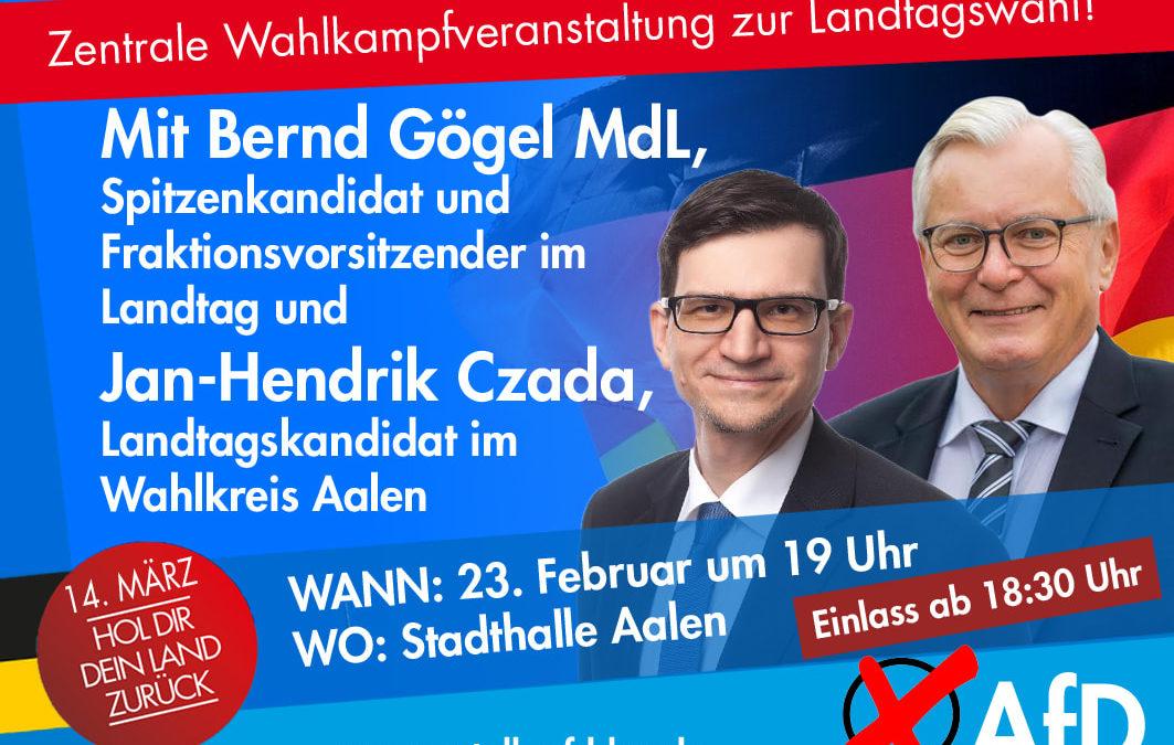 Veranstaltung: 23.02.2021, Zentrale Wahlkampfveranstaltung zur Landtagswahl mit Bernd Gögel MdL und Jan-Henrik Czada