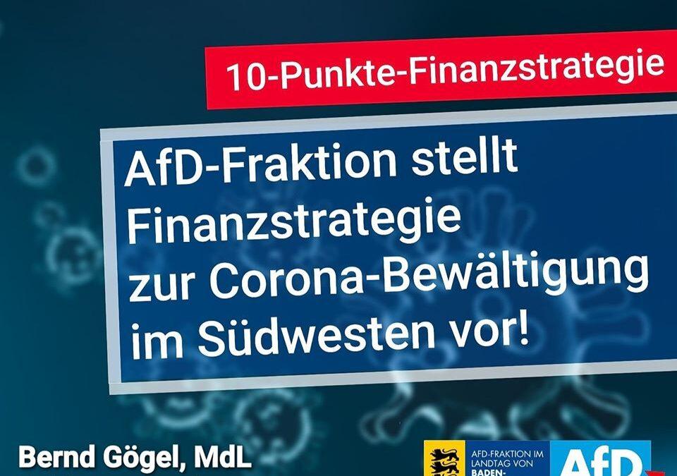 AfD-Fraktion stellt Finanzstrategie zur Corona-Bewältigung im Südwesten vor