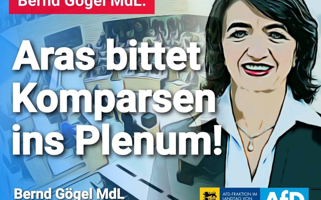 Bernd Gögel MdL: Aras bittet Komparsen ins Plenum