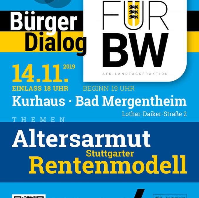 """Herzliche Einladung am 14.11.2019 nach Bad Mergentheim in das Kurhaus – Kommen Sie zu unserem BürgerDialog ,,Für BW"""" und diskutieren Sie mit"""