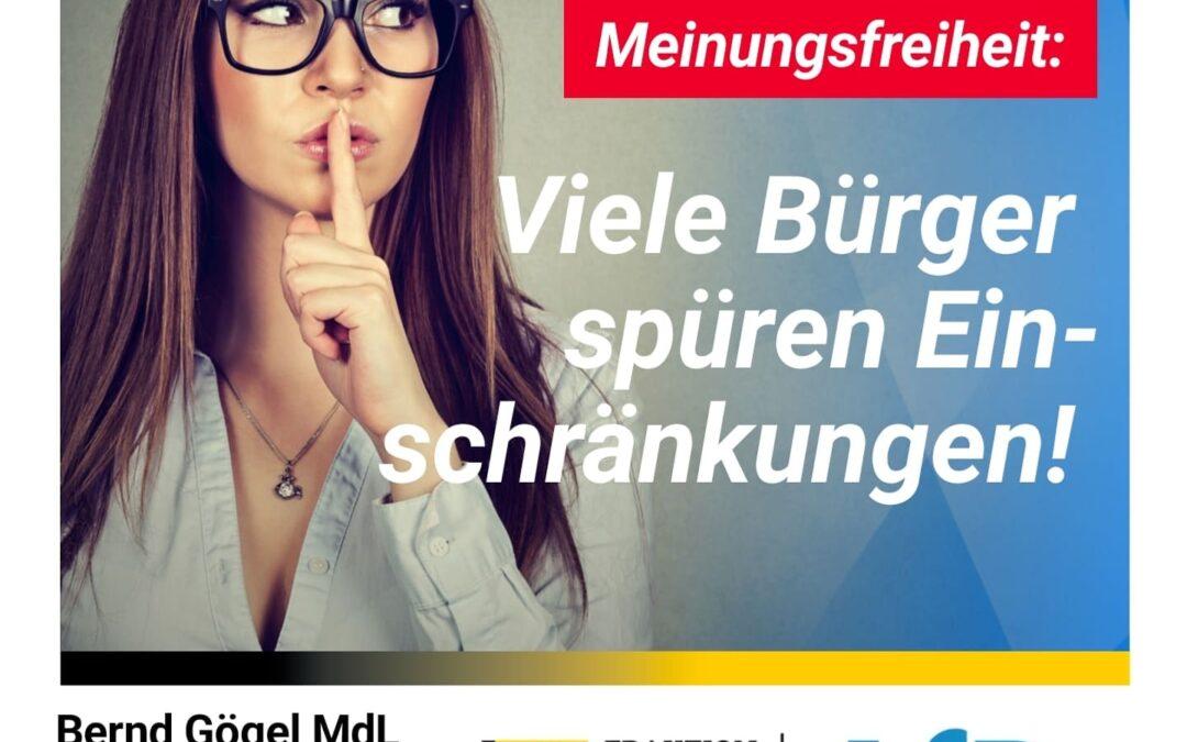 Offenen Diskurs wiederherstellen! Meinungsfreiheit: Viele Bürger spüren Einschränkungen