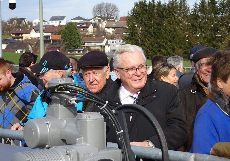 Einweihung des neu errichteten Hochwasserrückhaltebeckens am 22.02.2020 in der Gemeinde Remchingen