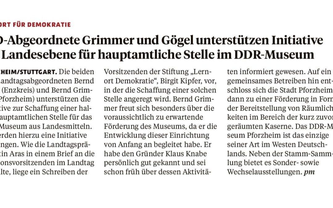 AfD-Abgeordnete Grimmer und Gögel unterstützen Initiative auf Landesebene für hauptamtliche Stelle im DDR-Museum
