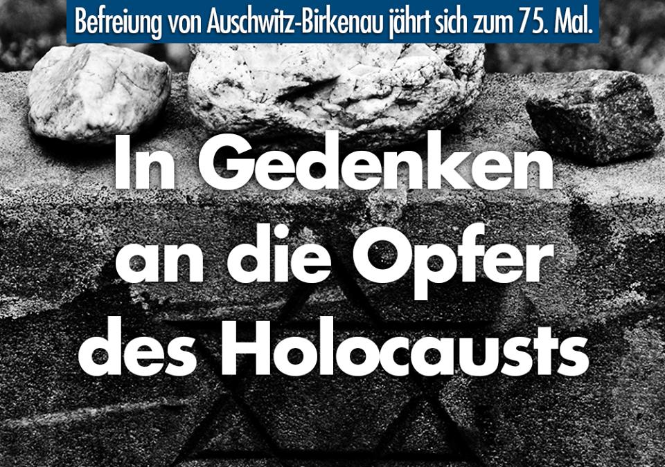 In Gedenken an die Opfer des Holocausts