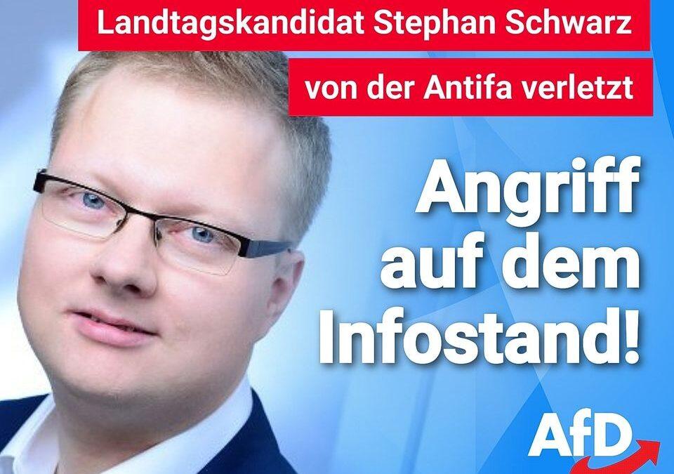Landtagskandidat Stephan Schwarz AfD von der Antifa verletzt – Angriff auf dem Infostand