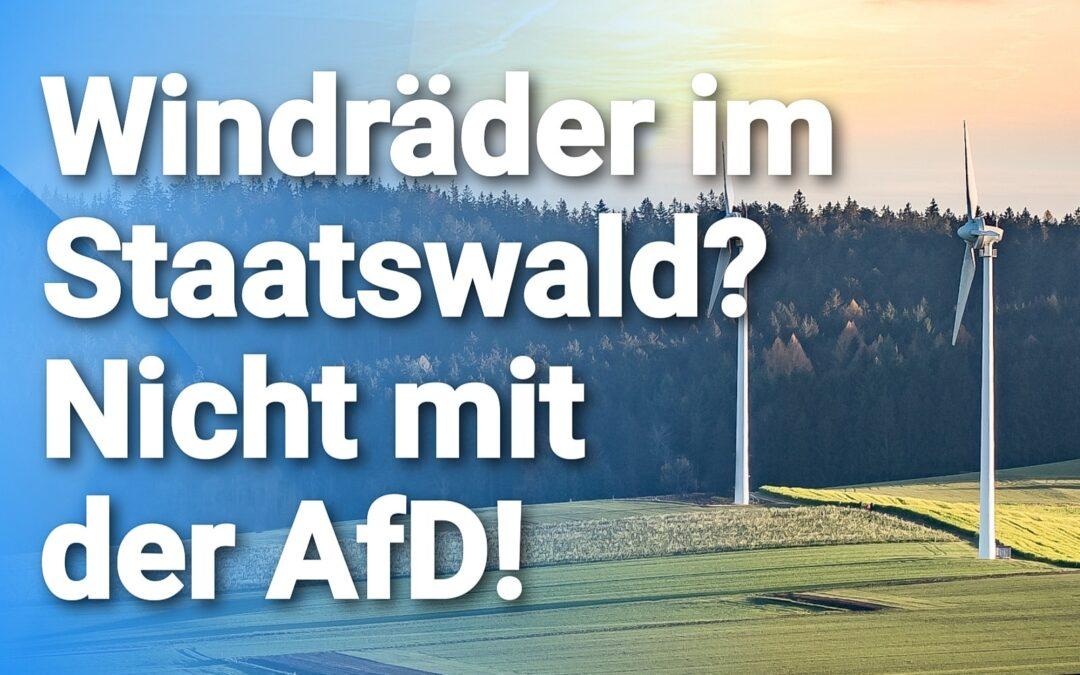 Land plant Ausbau – Windräder im Staatswald? Nicht mit der AfD!