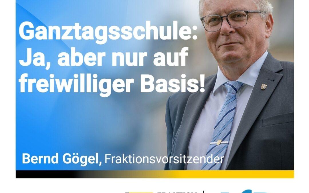 Heutige Rede im Landtag – Ganztagsschule: Ja, aber nur auf freiwilliger Basis!